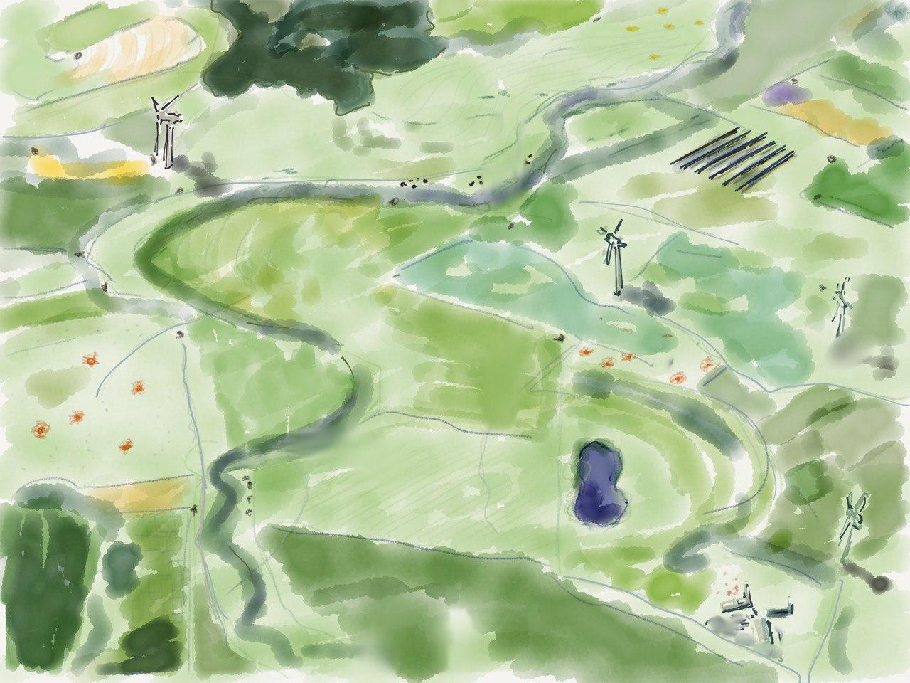 Ein gemaltes, imaginäres Luftbild